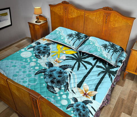 Image of Kanaka Maoli (Hawaiian) Quilt Bed Set - Blue Turtle Hibiscus A24