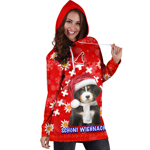 Christmas Edelweiss Switzerland Women Hoodie Dress Bernese Mountain Dog K13
