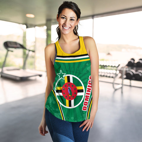 Dominica Women Racerback Tan Circle Stripes Flag Version K13