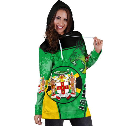Jamaica Lion Women Hoodie Dress Circle Stripes Flag Version K13