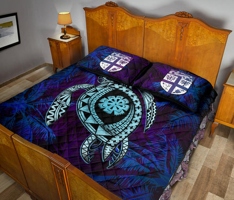 Fiji Quilt Bed Set - Tapa Turtle Tattoo Coconut Tree A24