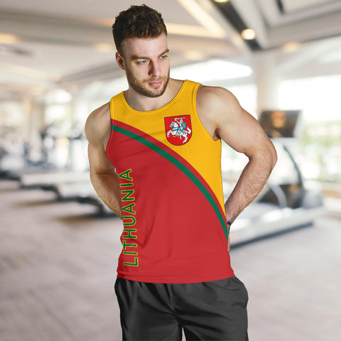 Image of Lithuania Men's Tank Top - Curve Version font