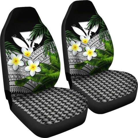 Kanaka Maoli (Hawaiian) Car Seat Covers, Polynesian Plumeria Banana Leaves Gray | Love The World