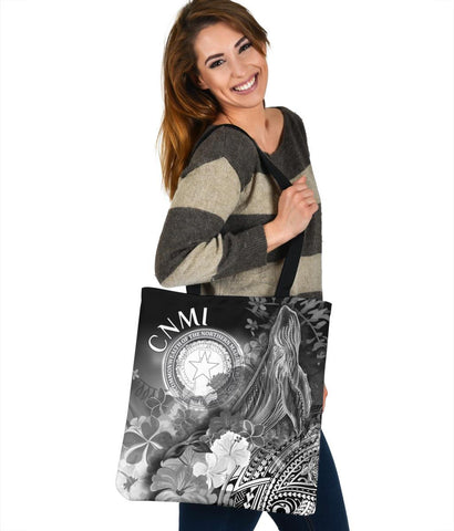 CNMI Tote Bags - Humpback Whale with Tropical Flowers (White)