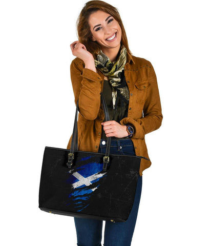 Scotland in Me Large Leather Tote - Special Grunge Style A7
