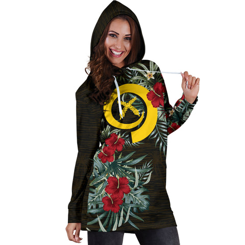 Image of Vanuatu 2 Hibiscus Hoodie Dress A7