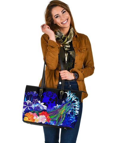 Tonga Large Leather Tote Bag - Humpback Whale with Tropical Flowers (Blue)