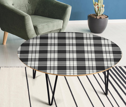 MacFarlane Black & White Ancient Tartan Circular Coffee Table - BN