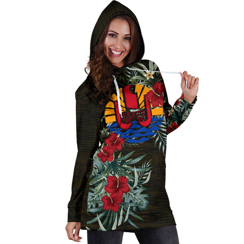 Image of Tahiti Hibiscus Hoodie Dress A7