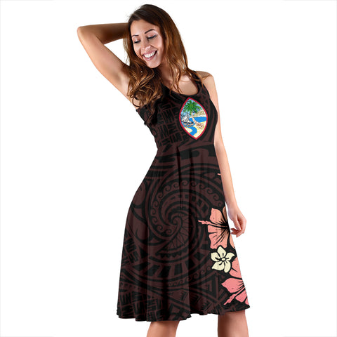 Guam Flamingo Hibiscus Women's Dress A02