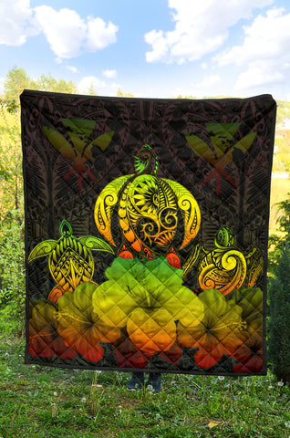 Image of Kanaka Maoli (Hawaiian) Premium Quilt Reggae Turtle Polynesian with Hibiscus TH5