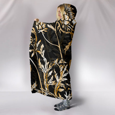 Baxter Hooded Blanket - Gold Scottish Thistle Over 300 Clans