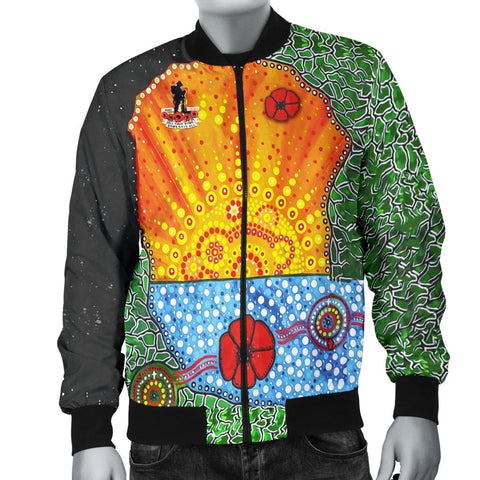 Aboriginal Australian Anzac Day Men Bomber Jacket - Lest We Forget Poppy 4