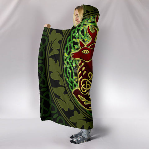 Celtic Deer with Tree of Life Hooded Blanket - The God of the Forest - BN21