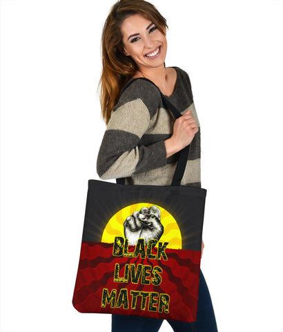Image of Australia Tote Bags, Black Lives Matter Sun Dot Painting