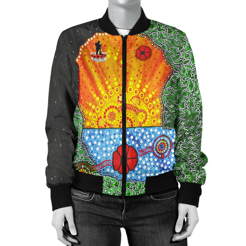 Aboriginal Australian Anzac Day Women Bomber Jacket - Lest We Forget Poppy 4