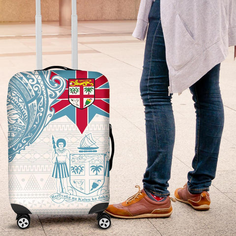 Image of Fiji Polynesian Luggage Cover - Fiji Flag Fiji Flag with Coat of Arms
