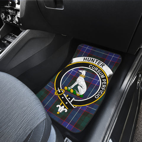 Image of Hunter Modern Tartan Clan Badge Car Floor Mat 4 Pieces K7