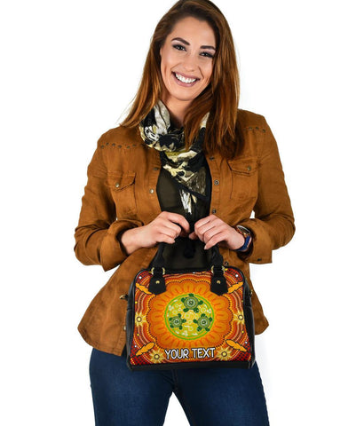 [Custom Text] Australia Aboriginal Shoulder Handbag - Turtle Circle Dot Painting Art