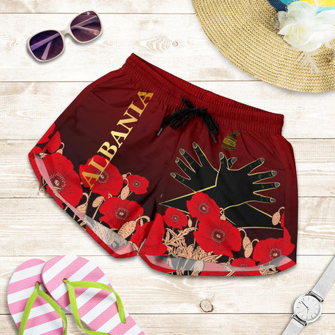 Image of Albania Flag Double Eagle Hand Women's Shorts A15