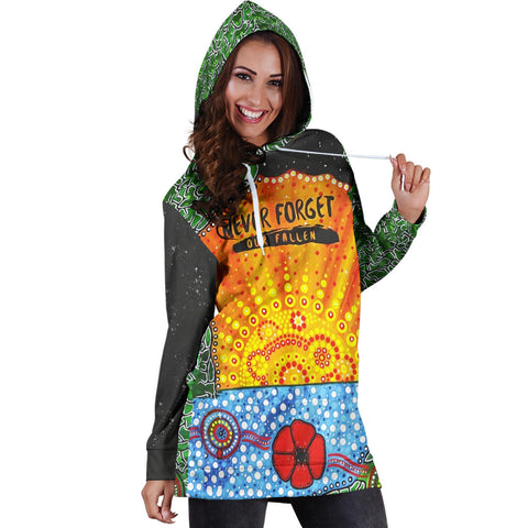 Aboriginal Australian Anzac Day Hoodie Dress - Lest We Forget Poppy 4