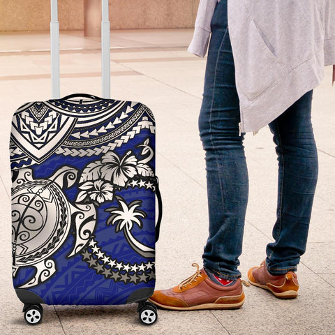 Chuuk Polynesian Luggage Covers  - White Turtle (Blue) - BN1518