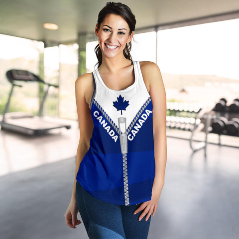 Canada Women Racerback Tank With Straight Zipper Style Blue K52