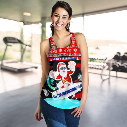 New Zealand Santa Christmas Women Racerback Tank Pohutukawa Fern And Kiwi K13
