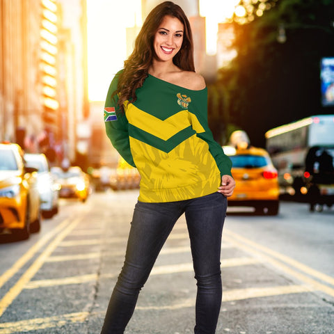 Image of 1stTheWorld South Africa Off Shoulder Sweater - South African Rising King Protea Women Yellow A10