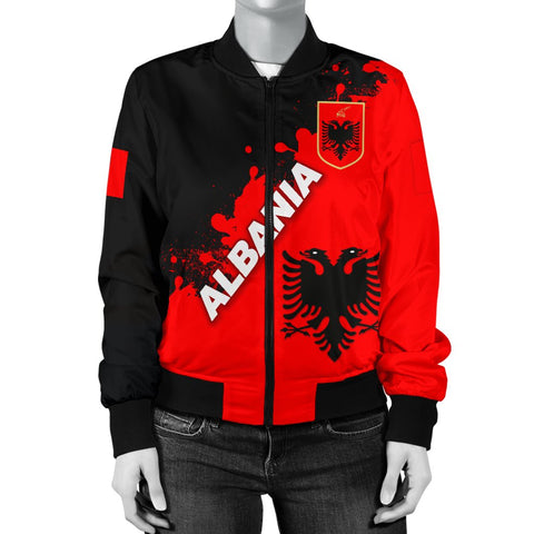 Image of Albania Women Bomber Jacket Red Braved  Version K12