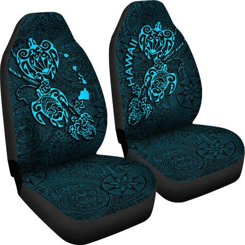 Hawaii Family Turtles Map Polynesian Car Seat Covers - Blue 4