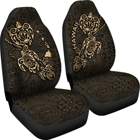 Hawaii Family Turtles Map Polynesian Car Seat Covers - Gold 4
