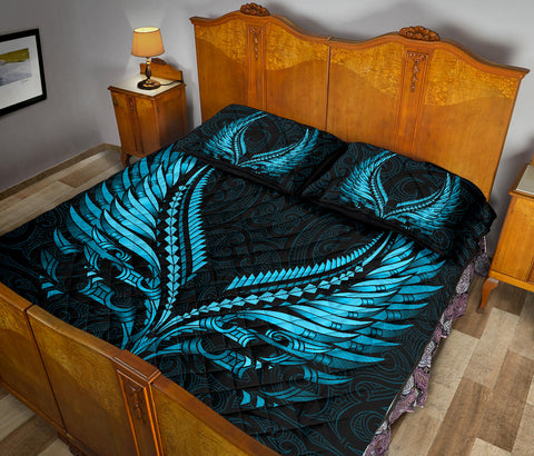 New Zealand Quilt Bed Set Aotearoa - Maori Fern Tattoo Bleu Clair A7