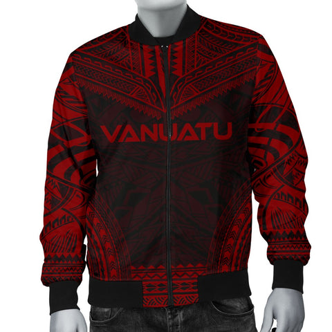 Vanuatu Polynesian Chief Men's Bomber Jacket - Red Version - Bn10