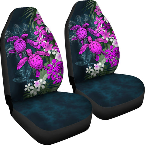 Kanaka Maoli (Hawaiian) Car Seat Covers - Sea Turtle Tropical Hibiscus And Plumeria Purple A24