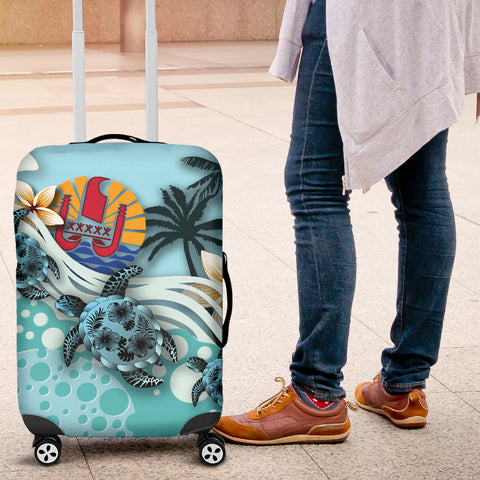 Tahiti Luggage Covers - Blue Turtle Hibiscus A24