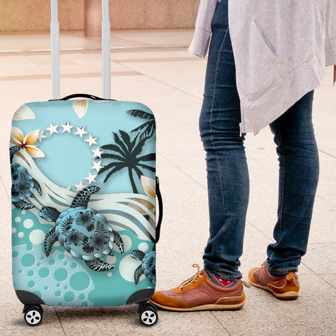 Cook Islands Luggage Covers - Blue Turtle Hibiscus A24