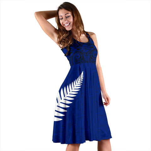 Maori Midi Dress Silver Fern