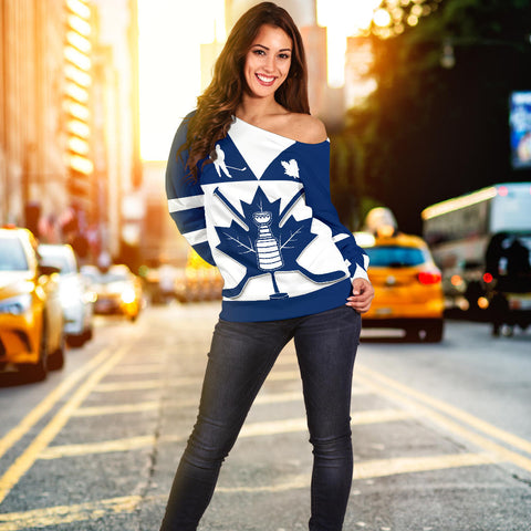 Canada Hockey Maple Leaf Champion Off Shoulder Sweater front | Clothing