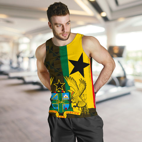 Ghana Coat Of Arm Kente Men's Tank Top - J4