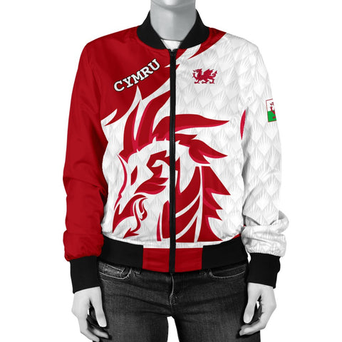 1stTheWorld Welsh Bomber Jacket - Welsh Dragon Red (Women) A10