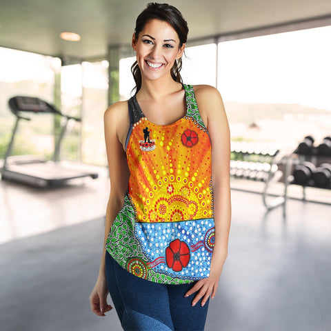 Image of Aboriginal Australian Anzac Day Women Racerback Tank - Lest We Forget Poppy 4