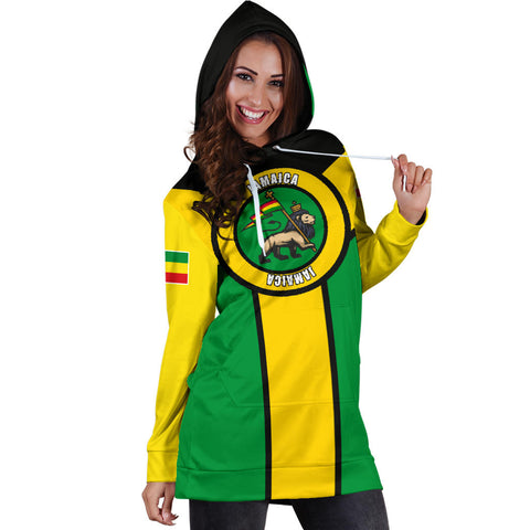 Jamaica Hoodie Dress, Jamaica Rasta Rising Flag A10