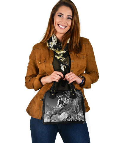 Tonga Custom Personalised Shoulder Handbag - Humpback Whale with Tropical Flowers (White)