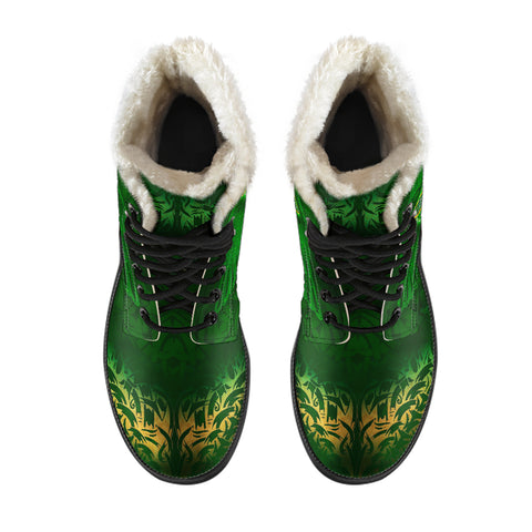 Celtic Knot Faux Fur Leather Boots - Celtic Green - BN01
