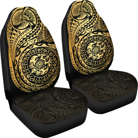Image of Polynesian Tattoo Style Car Seat Covers Luxury Golden A7