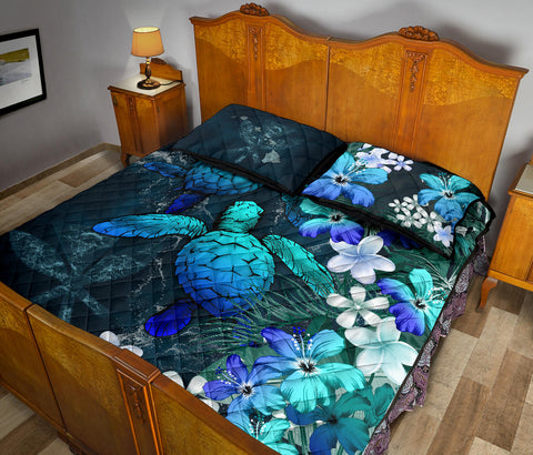 Image of Kanaka Maoli (Hawaiian) Quilt Bed set - Sea Turtle Tropical Hibiscus And Plumeria Blue A24