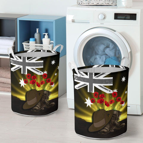 1stTheWorld Australia Anzac Day Laundry Basket - Lest We Forget Hat And Boots Poppies