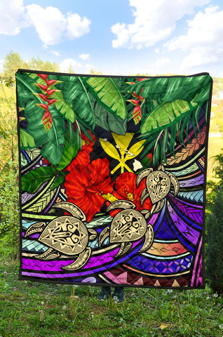 Kanaka Maoli (Hawaiian) Premium Quilt - Polynesian Turtle Colorful And Hibiscus| Love The World