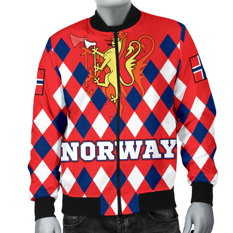 Norway Men's Bomber Jacket - Norway Lion with Flag Color - BN18